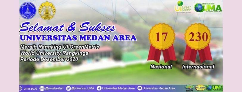 Universitas Medan Area Meraih Peringkat 17 Nasional Dan 230 Internasional UI Greenmetric World University Rangkings